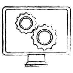 monitor computer with gears