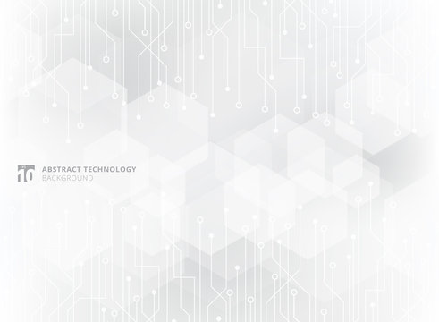 Abstract technology circuit board on gray geometric hexagon overlay pattern background.