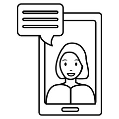 woman with smartphone and speech bubble