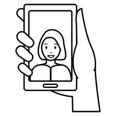 woman with smartphone device