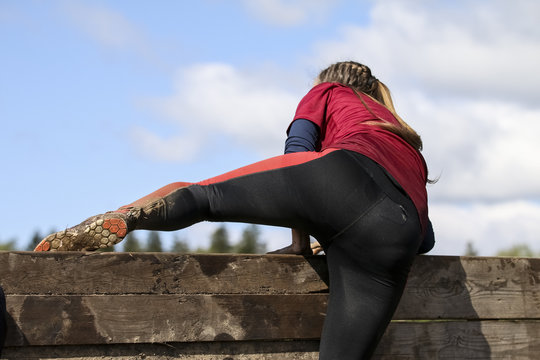 Mud race runners during extreme obstacle races