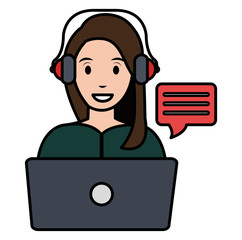 young woman with laptop character