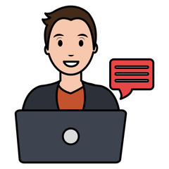 young man with laptop character