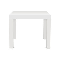 White square table mock up - front view. Vector illustration
