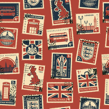 Retro Postage Seamless Background. Vector seamless pattern on UK and London theme with postage stamps and postmarks in retro style. Can be used as wallpaper or wrapping paper