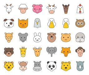 cute animal face included farm, forest and African animals, filled outline design