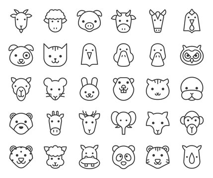 cute animal face included farm, forest and African animals, outline design