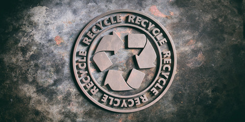 Round metal sign badge with text recycle isolated on metal background. 3d illustration