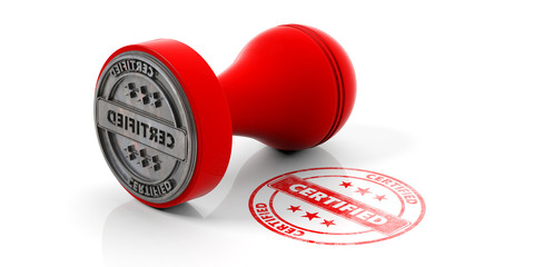 Red round rubber stamper and stamp with text certified isolated on white background. 3d illustration
