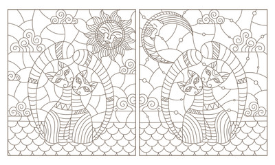 Set of contour illustrations of stained glass Windows with cats sitting on the roof, dark contours on a white background