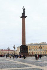 Palace Square with State Hermitage Museum and Winter Palace in Saint Perersburg, Russia.