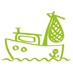 Handgezeichnetes Fischerboot in hellgrün