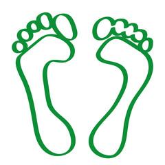 Handgezeichnete Fußabdrücke in grün