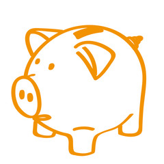 Handgezeichnetes Sparschwein in orange