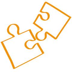 Handgezeichnetes Puzzle in orange