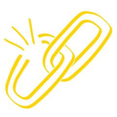 Handgezeichnetes Link-Symbol offen in gelb