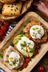 Sandwiches with a poached egg