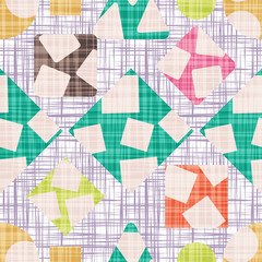 Retro design tissue with geometric shapes. Vector illustration. Rhombus, square, triangle and circle.