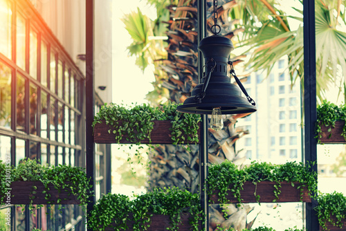 Eco Architecture Green Cafe With Hydroponic Plants On The Facade
