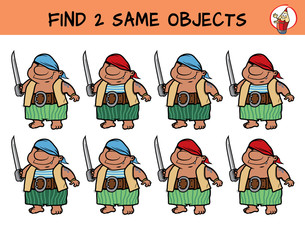 Funny pirate with a cutlass. Find two the same pictures. Educational matching game for children. Cartoon vector illustration