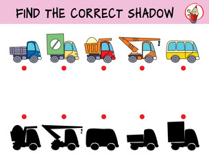 Urban transport. Truck, van, tipper, truck crane and bus. Find the correct shadow. Educational matching game for children. Cartoon vector illustration