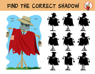 Scarecrow. Find the correct shadow. Educational matching game for children. Cartoon vector illustration