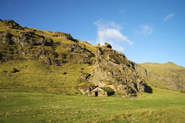 Rutshellir historical cave in South Iceland.