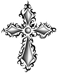 Three-dimensional cross in black and white with tribal pattern