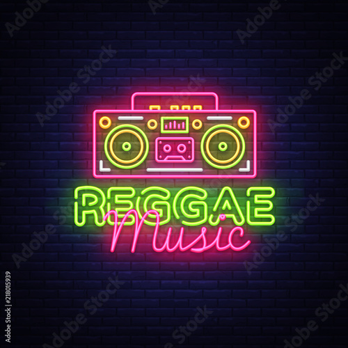 f0f30bf3 Reggae Music Neon Logo Vector. Reggae neon sign concept, design template,  modern trend design, night neon signboard, night bright advertising, light  banner, ...