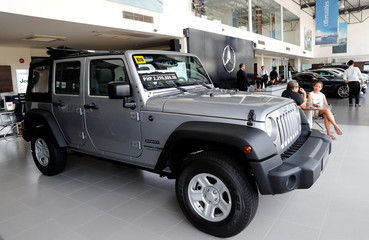U.S. made Jeep Wrangler for sale is seen at a local dealer of U.S. made vehicles, Automotive Icon in Alabang
