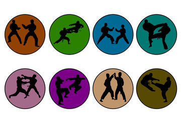 Set of 8 icons of different colors karate
