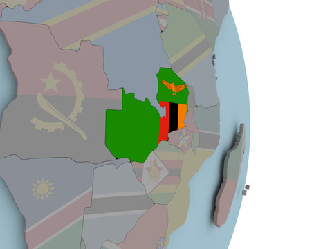 Map of Zambia on political globe with flag