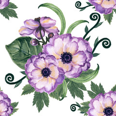 Watercolor gouache anemone floral and leaves  hand drawn floral illustration seamless pattern