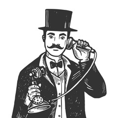 Gentleman with phone engraving vector illustration