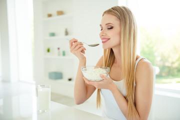 Greek yogurt life style aroma people person concept. Close up ph