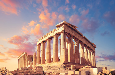 Poster Athene Parthenon on the Acropolis in Athens, Greece, on a sunset