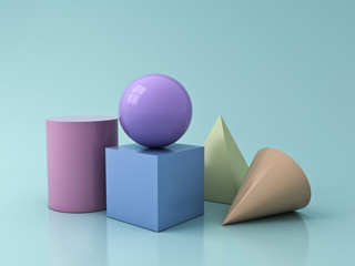 Colorful Pastel Geometry 3D Graphic Shapes Cube Pyramid Cone Cylinder Sphere isolated on blue green pastel color background with reflections and shadows 3D rendering