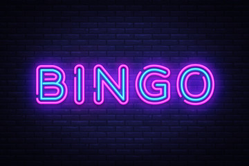 Bingo Neon text Vector. Lottery neon sign, design template, modern trend design, night neon signboard, night bright advertising, light banner, light art. Vector illustration