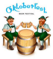 Two man in traditional german clothes sit and drink beer. Oktoberfest beer festival greeting card text