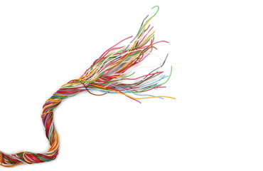 Fototapeta Colorful cables, wires isolated on white background, top view obraz