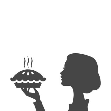 Housewife holding pie, woman holding a pie