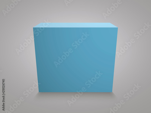 Blank Blue Cube On Grey Background 3d Box Template Stock Image And