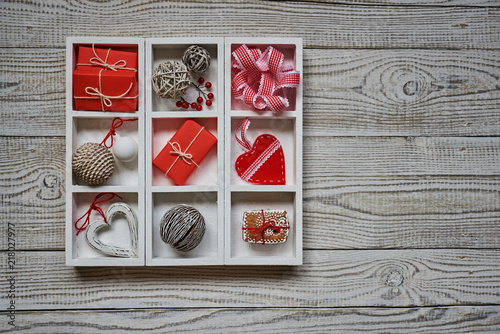 Christmas Toys And Decorations In Old Vintage Wooden Box Red Gift Gorgeous Decorating With Old Wooden Boxes