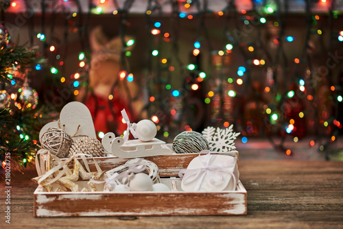 pastel colored decoration for christmas vintage wooden box with christmas decorations - Pastel Christmas Decorations