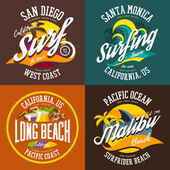 California or USA beach signs for t-shirts