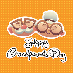 Happy grandparents day background with grandmother and grandfather vector