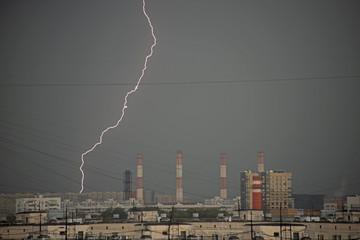 thunder-storm over Moscow - lightning stroke