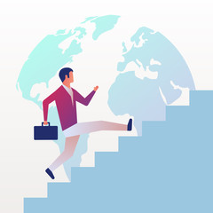 Businessman is climbing career ladder on background globe. Business growth concept. Concept development. Vector illustration flat design. Step by step. Human in suit with briefcase runs down stairs.