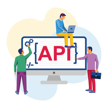 API concept. API as a symbol of the finished code. Group of professional programmers are working on the program. Vector illustration flat design. Isolated on white background.