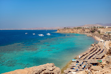 Bay with beaches and coral reefs in Sharm El Sheikh. Sinai, egypt
